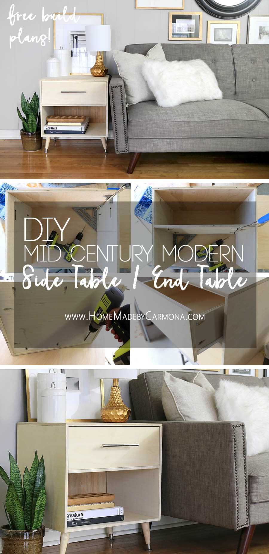 Image of: Free Build Plans Mid Century Modern Side Table Diy End Table Home Made By Carmona