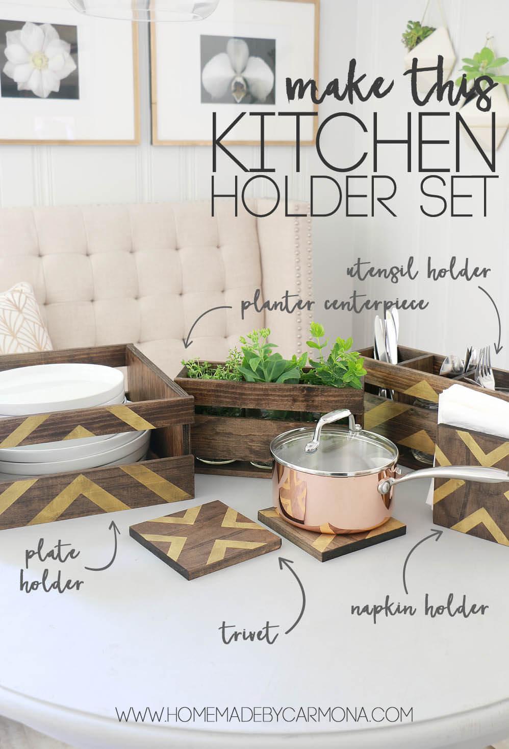 Diy Kitchen Utensil Holder Dish Holder Set Home Made By Carmona