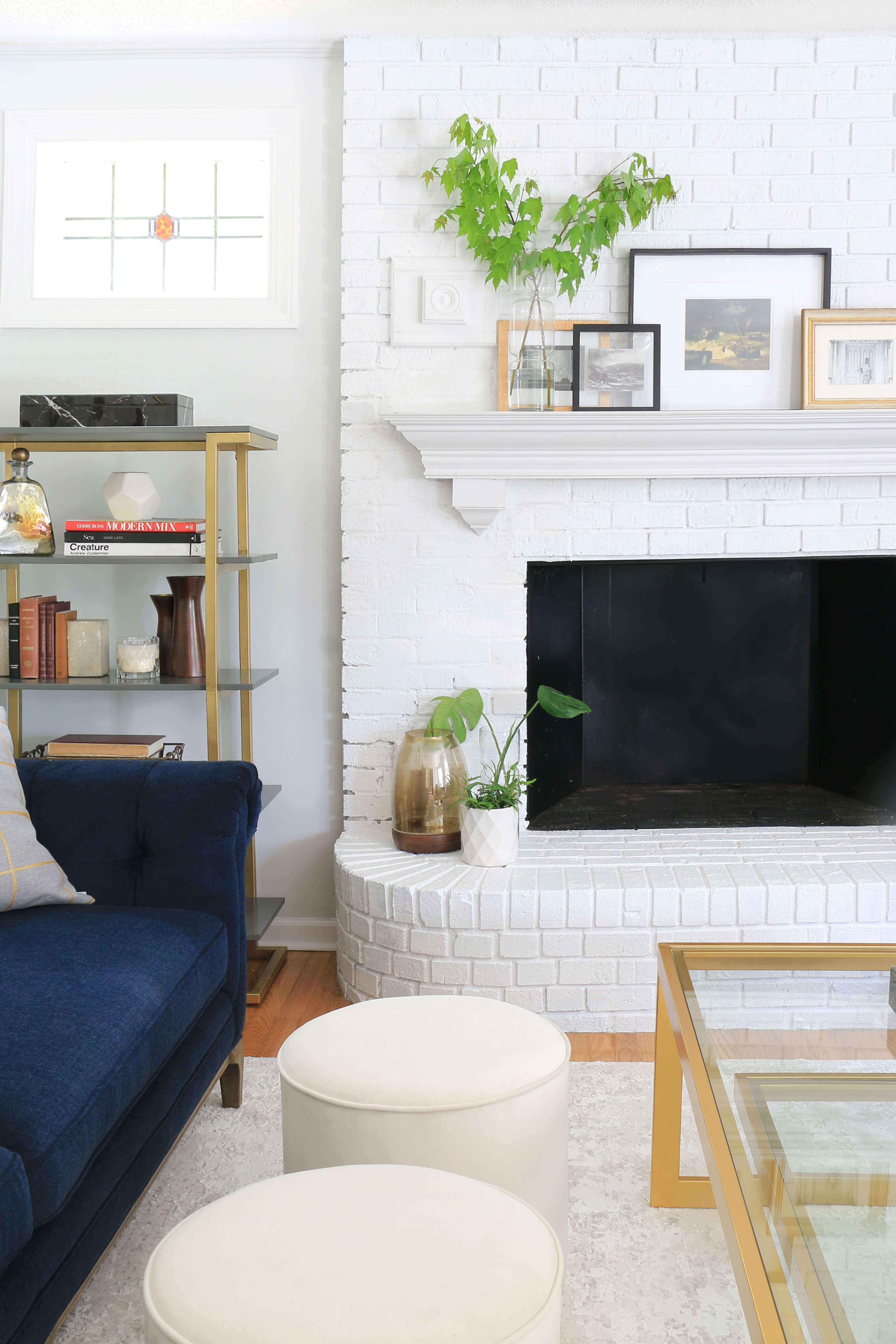 White Painted Brick Fireplace Family Room Home Made By Carmona